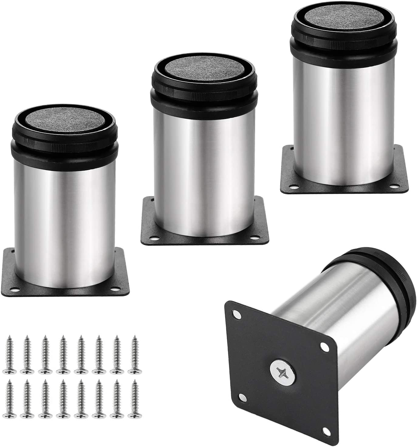 Kyuionty Set of 4 Stainless Steel Furniture Legs 3 Inch, Adjustable Round Cabinet Legs 2