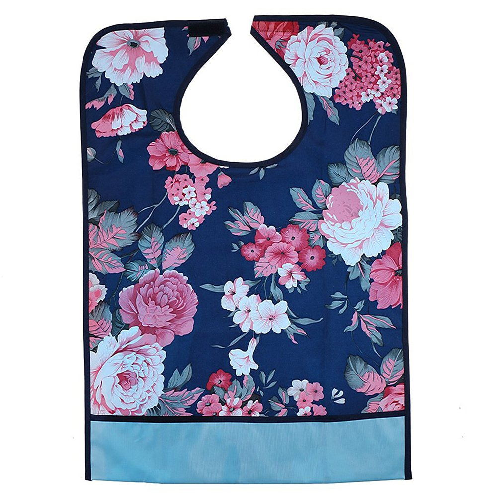 Tinksky Adult Mealtime Protector Waterproof Pocket Bib Disability Aid Apron with Crumb Catcher (Hibiscus) by TINKSKY