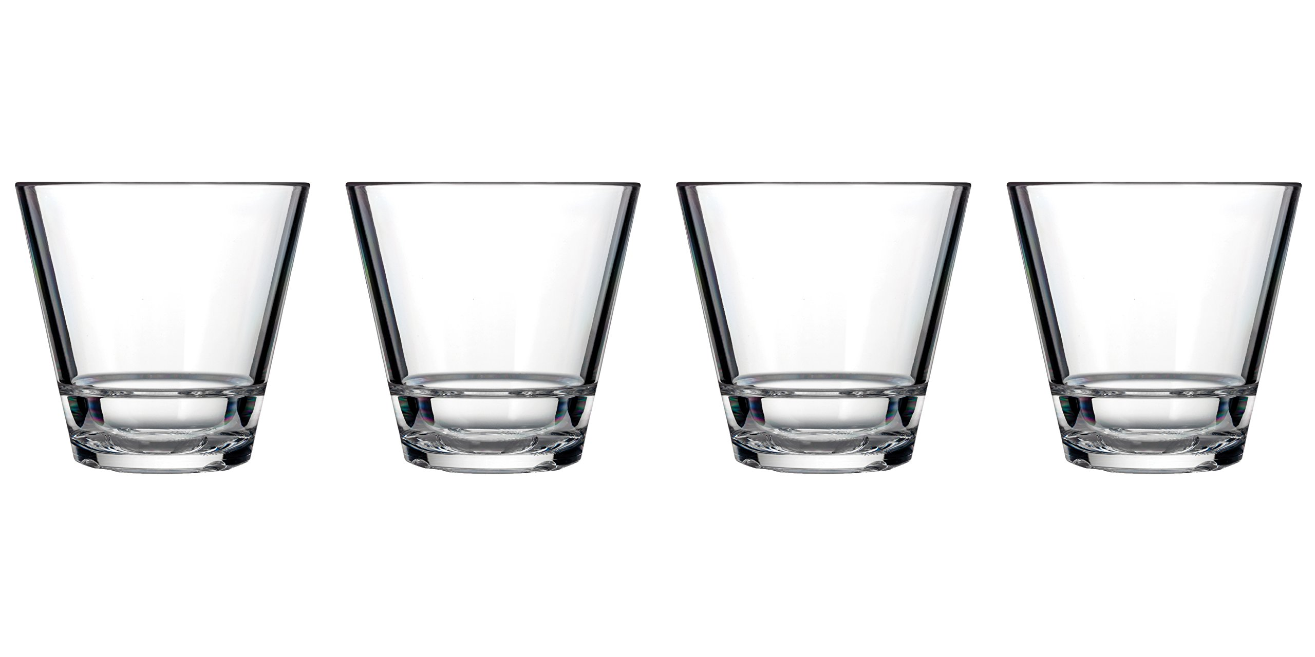 Drinique CAL-RK-CLR-4 Caliber Rocks Unbreakable Tritan Whiskey Glasses, 9.5 oz (Set of 4), Clear