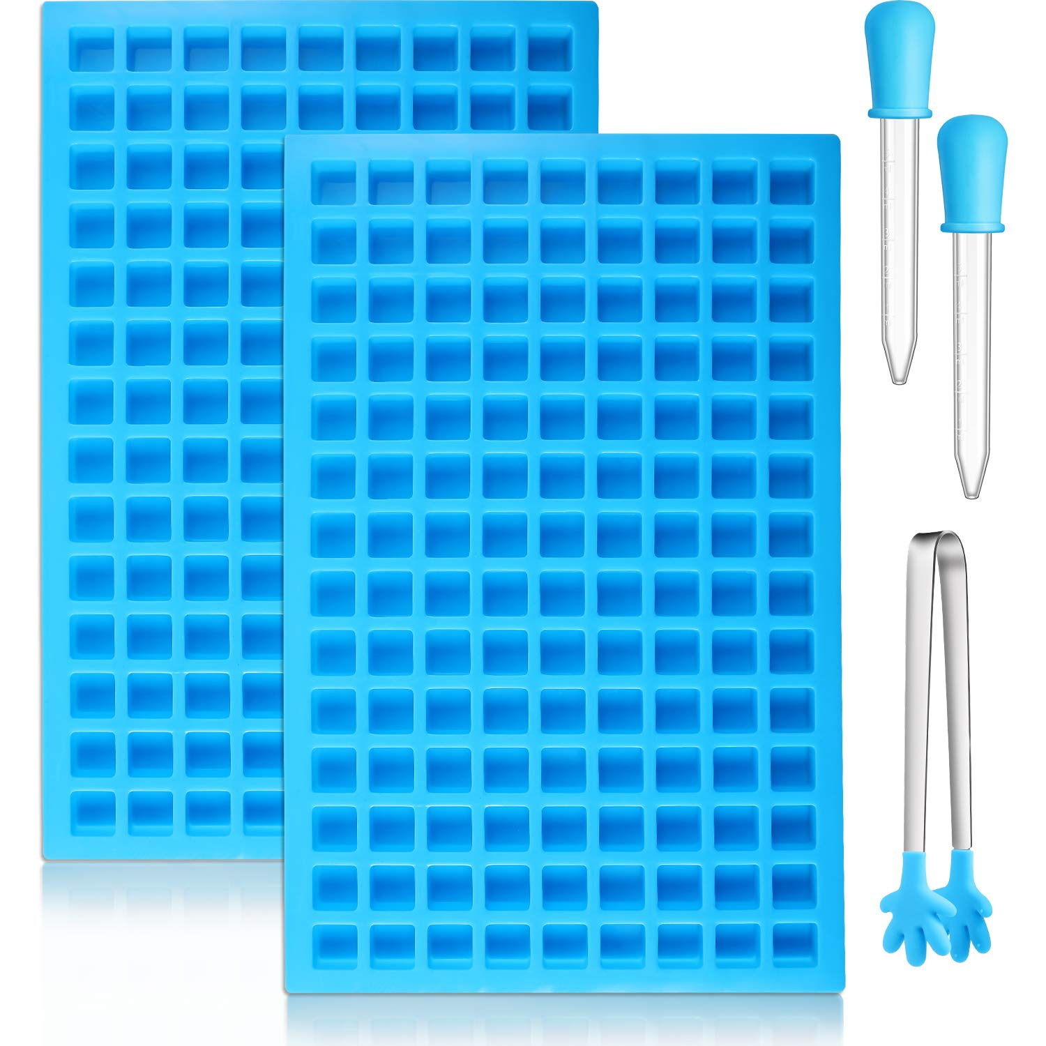 2 Pieces 126-Cavity Square Silicone Mold Mini Candy Molds Ice Cube Tray with Silicone Dropper Clip for Making Homemade Chocolate Candy