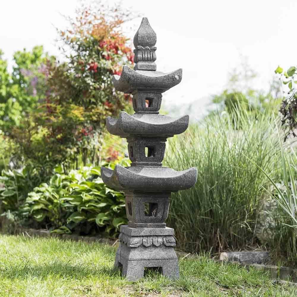 Wanda collection Linterna Japonesa Pagoda de Piedra de Lava 1,10 m: Amazon.es: Jardín