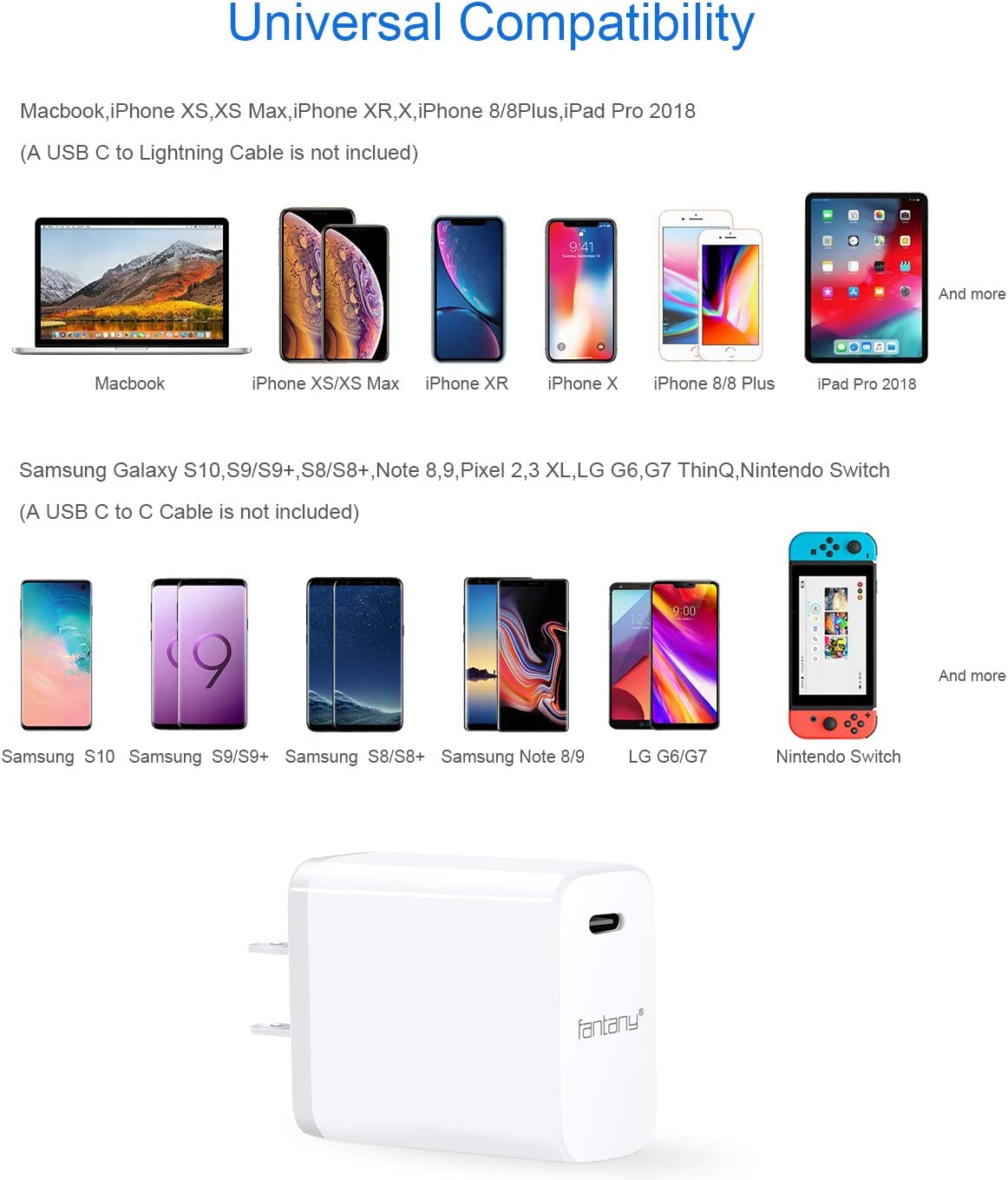 USB C Charger, UL Listed ,White Fantany 30W USB C PD 3.0 Wall Charger for iPhone 11,11 Pro,11 Pro Max,XS,XS Max,XR,X,8,8 Plus,iPad Pro,Galaxy S10+,S9,S8,Note 8,9,Pixel 2,3,4,LG,HTC NOT Included Cable