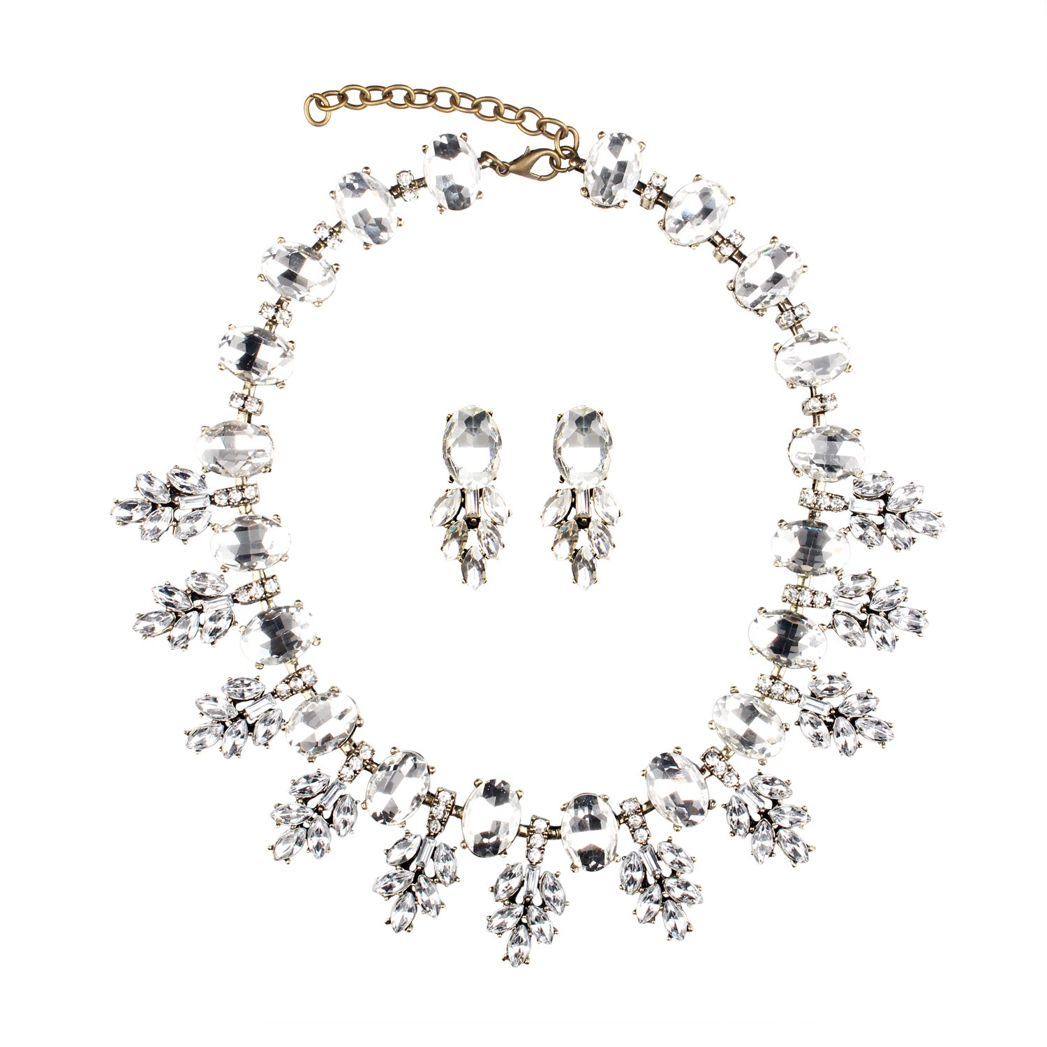 Hamer Collar Costume jewelry Crystal Choker Pendant Statement Chain Charm Necklace and Earrings Sets Women (9#)