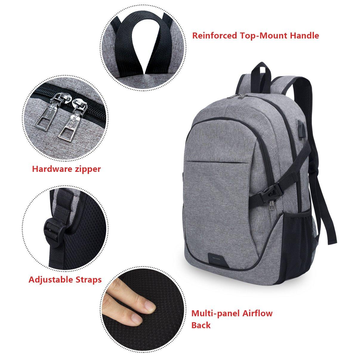 Chrislley Laptop Rucksack, Damen Herren Notebook Business Tasche mit USB Kabel und Anschluss f¨¹r bis zu 15. 6 Zoll Stylisch Oxford Rucks?cke Gepolstert Daypacks f¨¹r Arbeit Schul Outdoor (Grau)