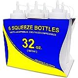 New Star Foodservice 饭店级广口挤压瓶 32 盎司 透明 32 oz 6-Pack 26269