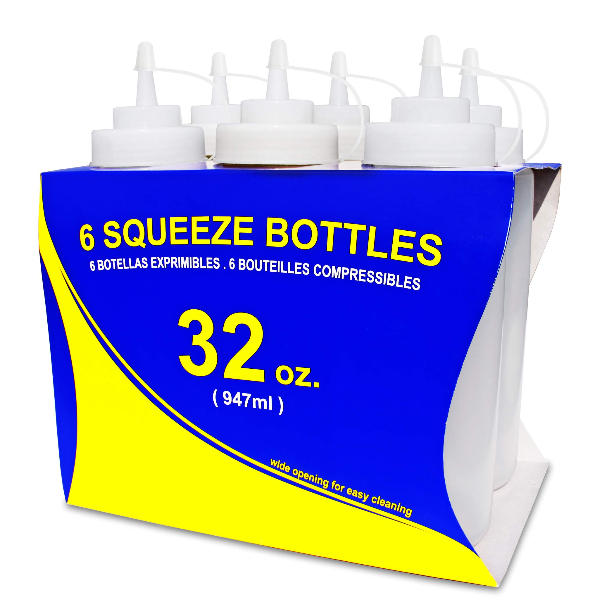 New Star Foodservice 26269 Squeeze Bottles, Plastic, Wide Mouth, 32 oz, Clear, Pack of 6 by New Star Foodservice