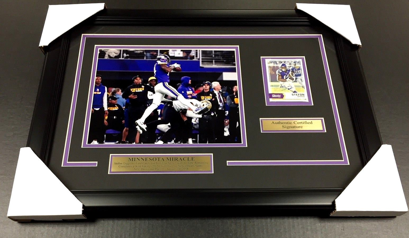 STEFON DIGGS AUTOGRAPHED CARD FRAMED MINNESOTA MIRACLE VIKINGS 8X10 PHOTO