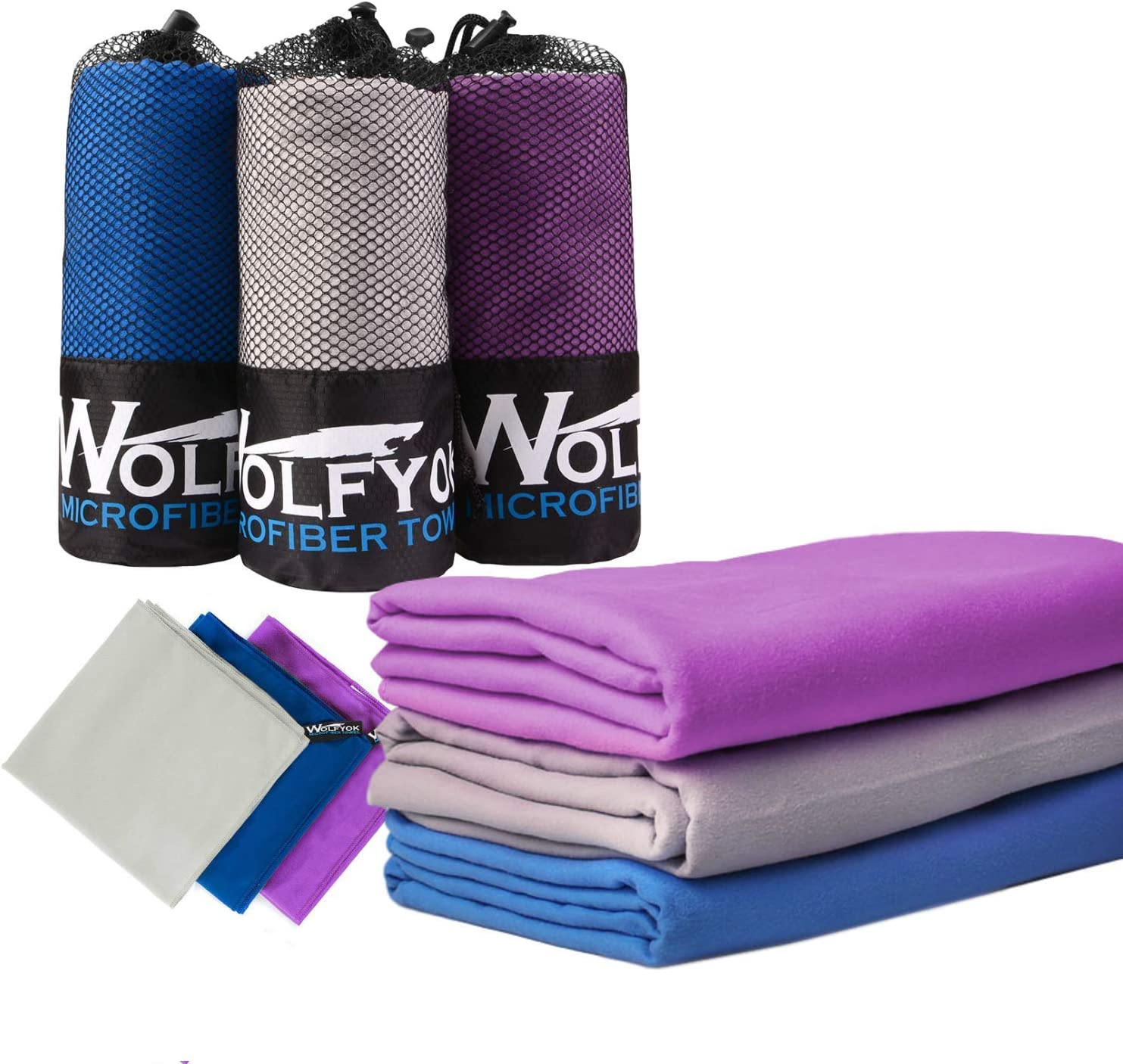 """Wolfyok 2 Pack Microfiber Travel Sports Towel XL Ultra Absorbent and Quick Drying Swimming Towel (58"""" X 30"""") with Hand/Face Towel (24"""" X16"""") for Sports, Backpacking, Beach, Yoga or Bath"""