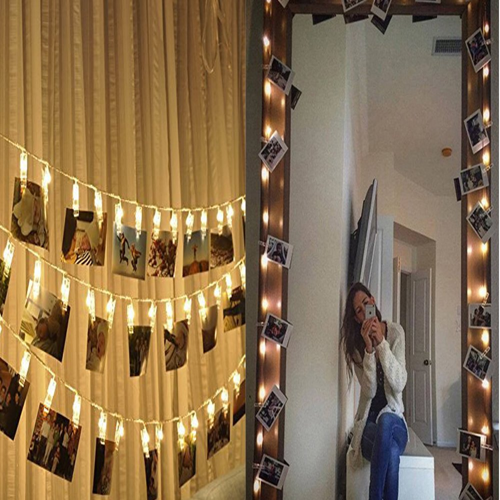 LED Foto Clips Lichterketten Warmwei/ß SanGlory LED Lichterkette mit 30 Clips 3 Meter Poto Lichterketten LED Batteriebetriebene Dauerlicht f/ür Bilder Fotos Karten