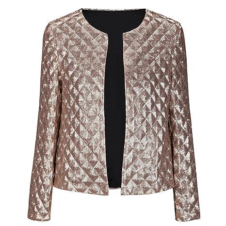 Las mujeres de moda lentejuelas abertura frontal no-collar corto chaquetas chaqueta para hombre,