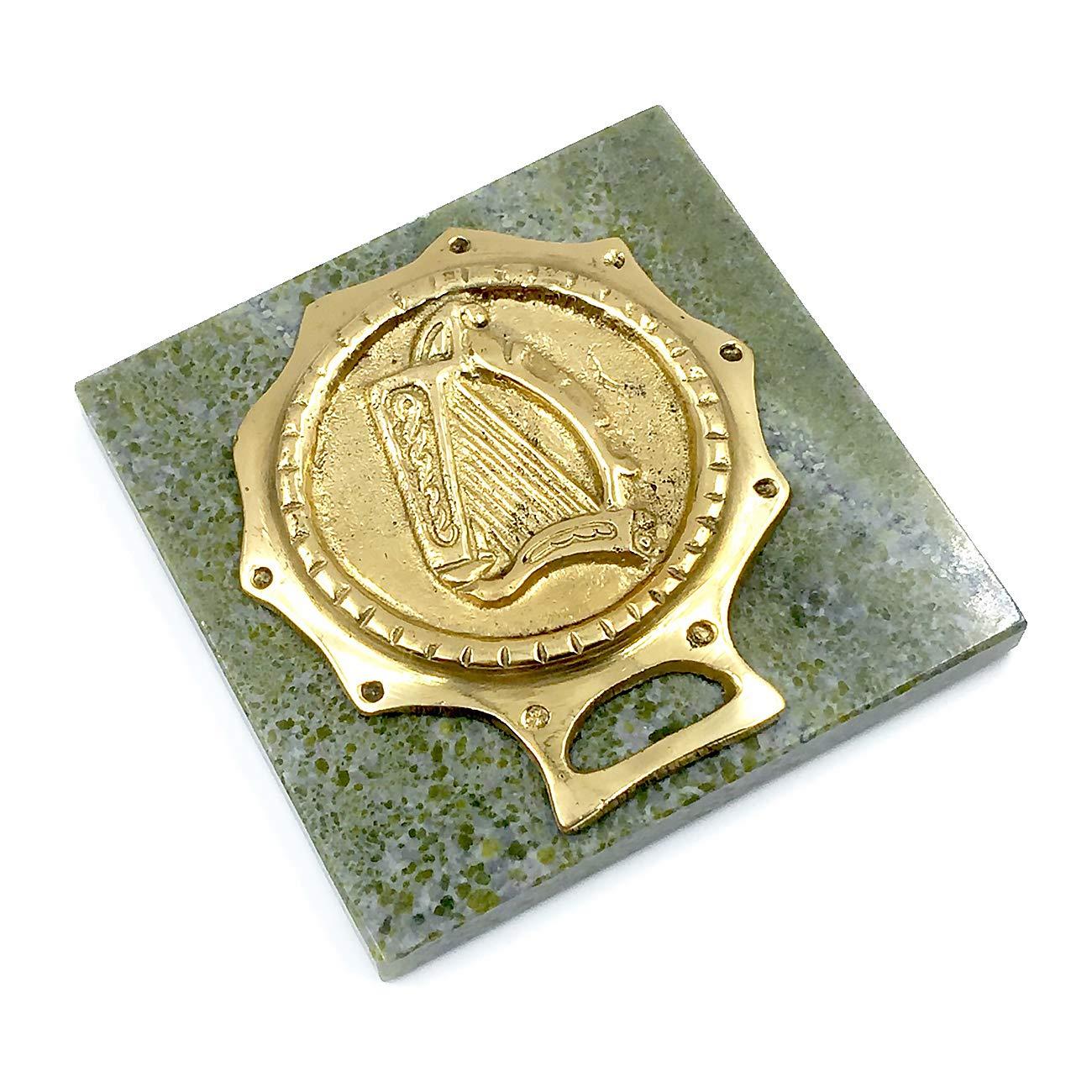 Connemara Square Irish Marble Paperweight w/Harp Medallion by Connemara