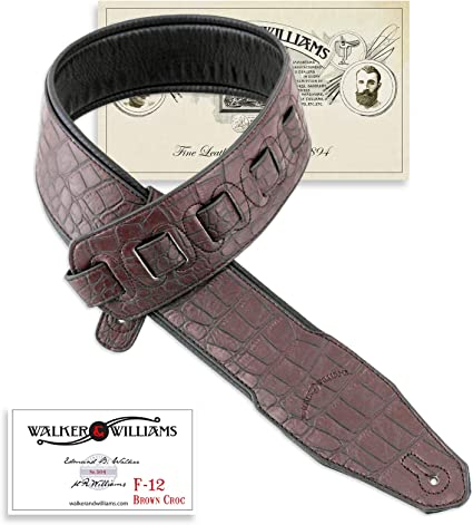 Walker /& Williams DLX-214 Black Cherry Padded Leather Strap with Metal Studs