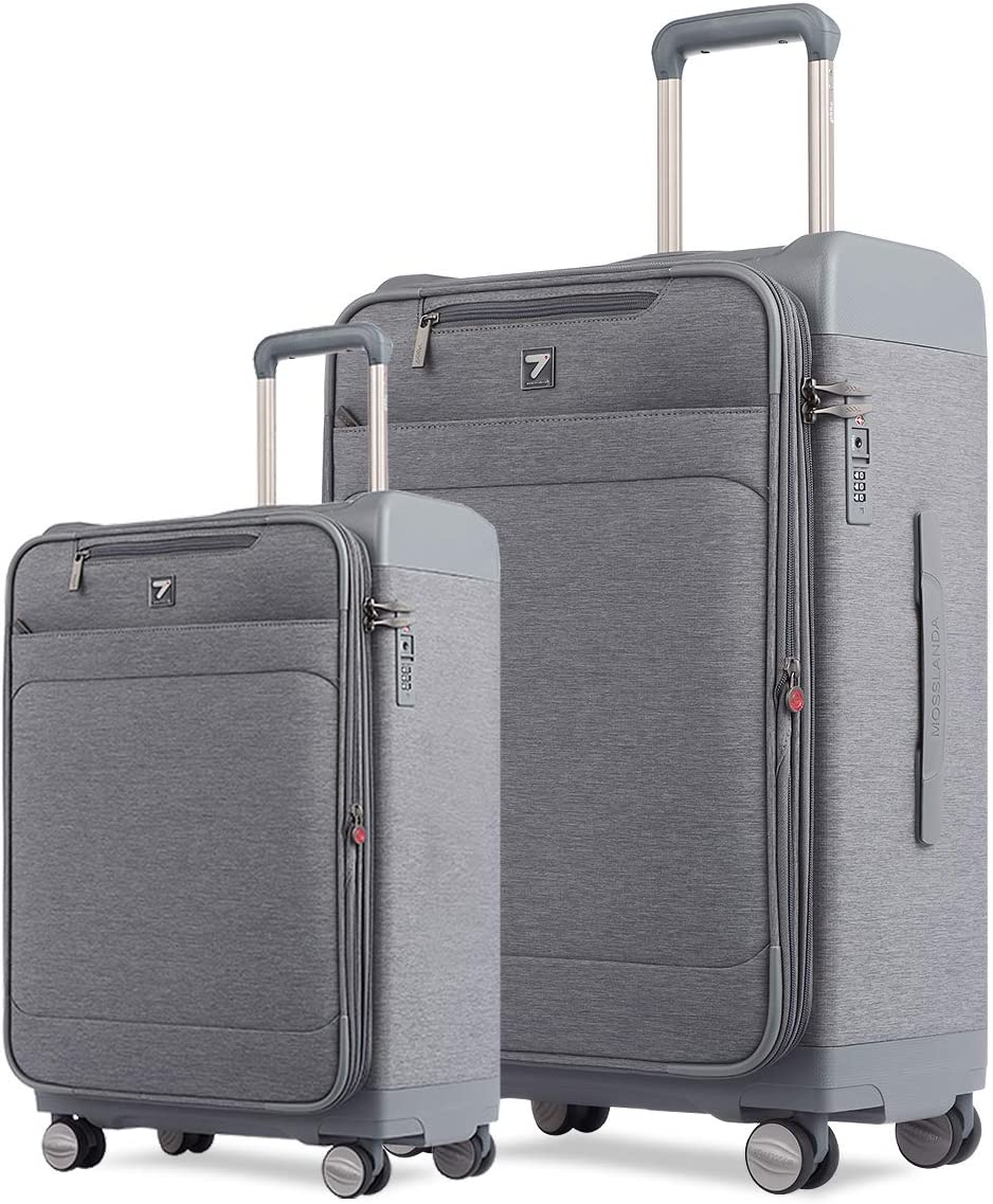 Totell 2Pcs Expandable Suitcase Sets 28 inch Business Spinner and 20 inch Carry on Luggage with TSA Lock Gray