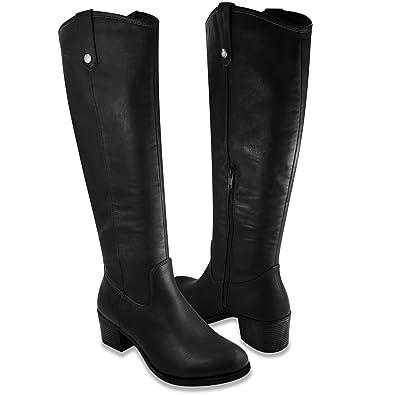 bdf97089f3fc6 Rampage Womens Italie Riding Boot 6 Black Distressed