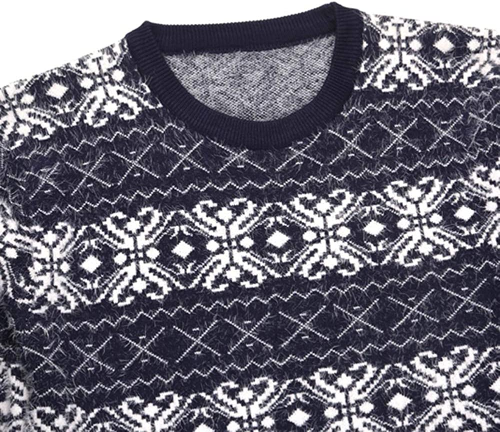 Wintialy Men Autumn Long Sleeve Printed Pullover Knitted Sweater Top Tee Outwear Blouse