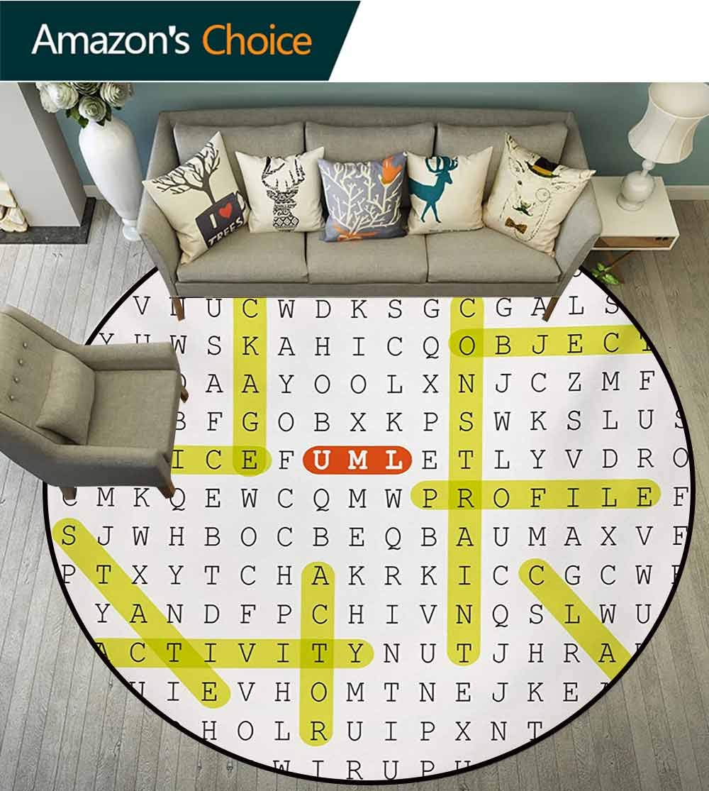 RUGSMAT Word Search Puzzle Modern Washable Round Bath Mat,Unified Modeling Language Word Puzzle with Highlighted Keywords Non-Slip Bathroom Soft Floor Mat Home Decor,Diameter-35 Inch