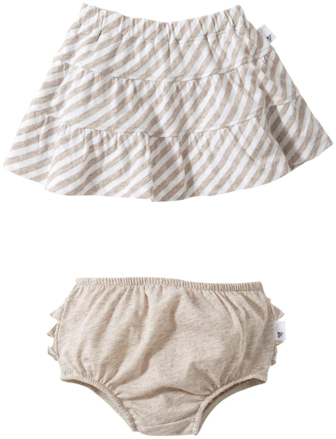 Baby Burts Bees Baby Baby Girls Striped Skirt w//Diaper Cover