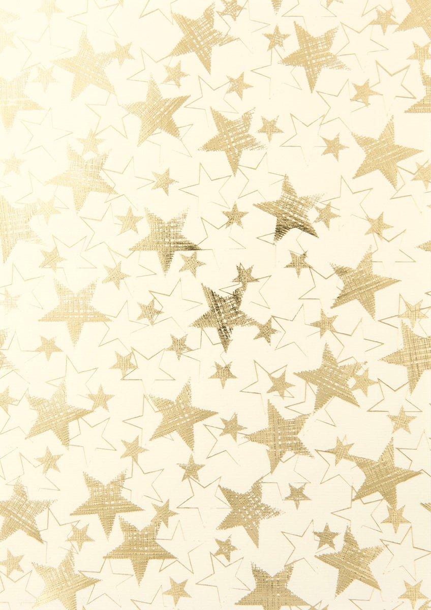 Rössler Papier - - W-Kreativblatt DIN A4 Magic stars allover, Ivory(HF Gold) - Liefermenge  50 Stück