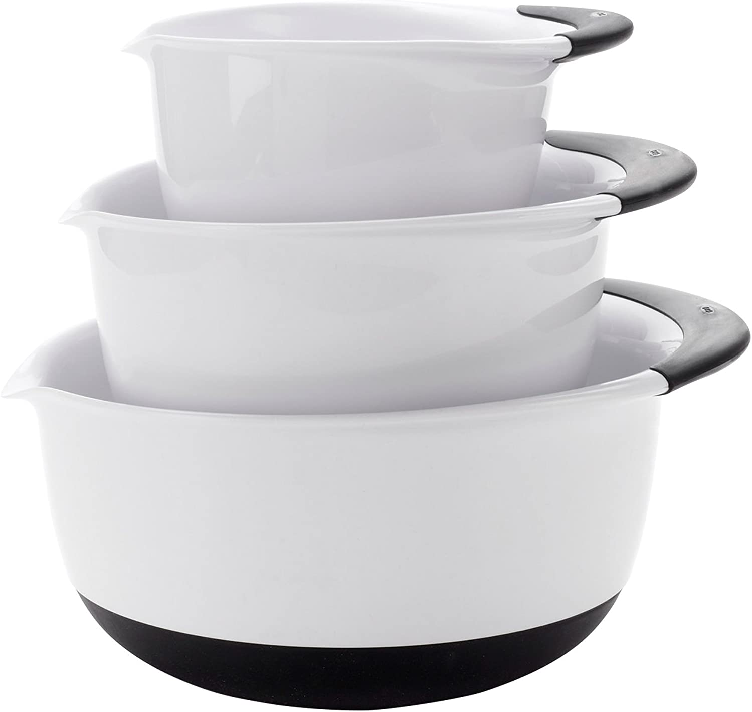 OXO 1066421 Good Grips Mixing Bowl Set with Black Handles, 3-Piece,White/Black