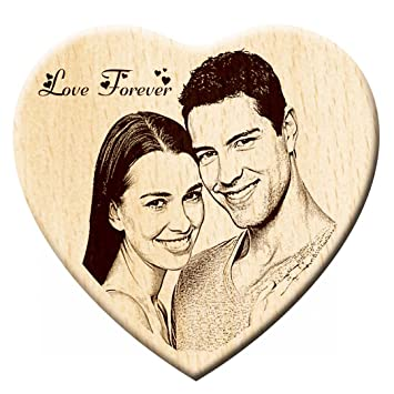 Engraveindia Personalize Wedding Anniversary Special Unique Gift - Wooden Engraved Heart Shape Photo Plaque/Photo Frame Photo Frames at amazon
