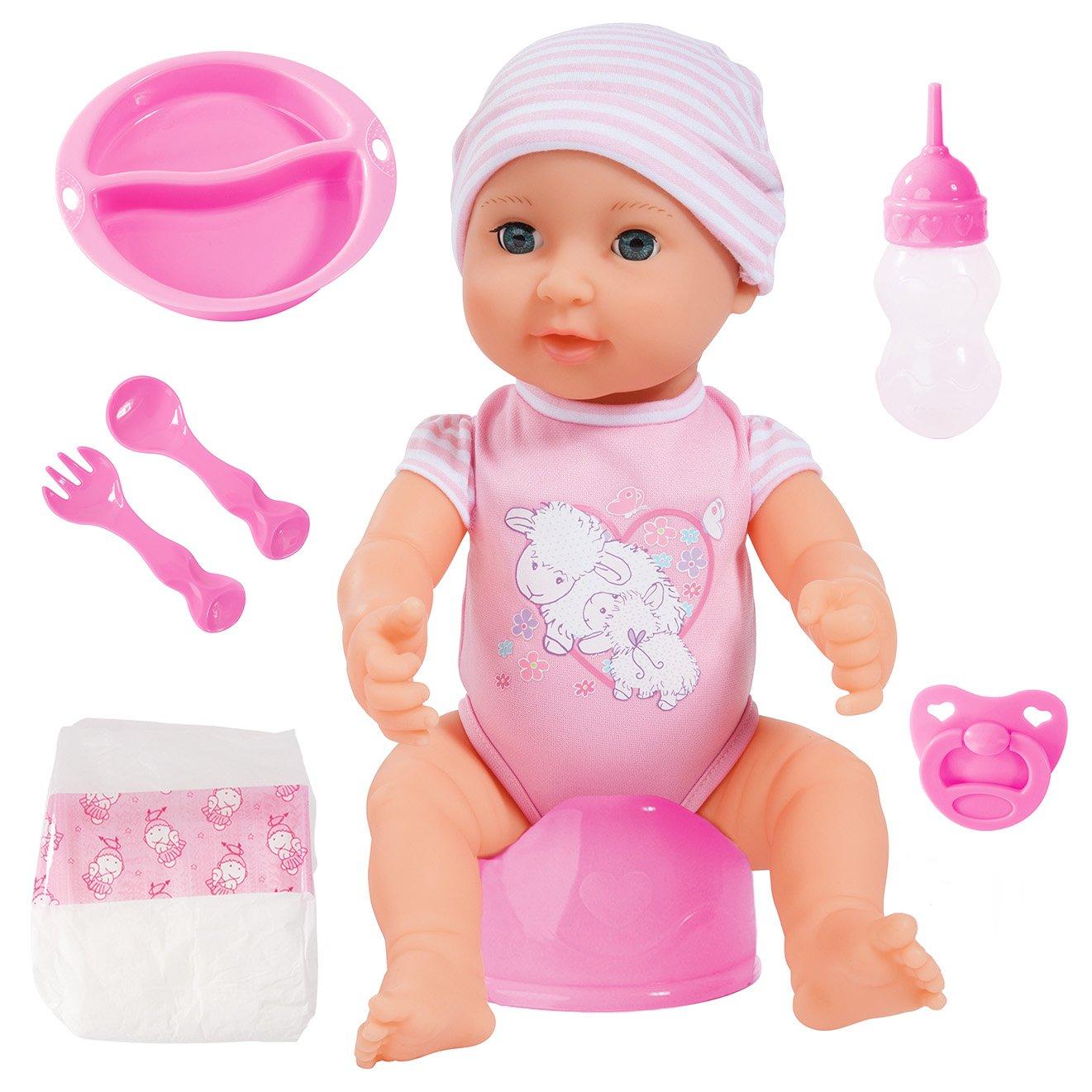 Bayer Design 94071AA - Piccolina New born Baby 40 cm Funktions Puppe mit Schlafaugen inklusiv Zubehör B2894071
