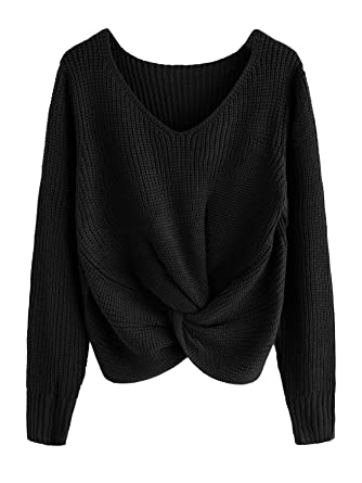 b53a10ecb6f Milumia Long Sleeves Criss Cross Loose Fitting Batwing Style Fall Lightweight  Sweater V Neck Shirts at Amazon Women s Clothing store