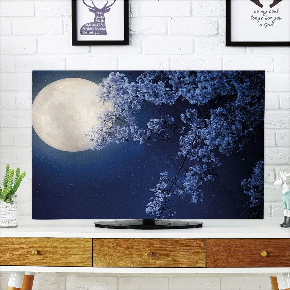 Cubierta de polvo para televisor LCD, cielo nocturno, árbol antiguo del desierto, pintura de mano como imagen Cosmos Nebula espacio exterior, imagen decorativa, multicolor, diseño de impresión 3D compatible con TV de