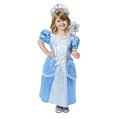 Melissa & Doug Royal Princess Role Play Costume Set (3 pcs) - Blue Gown, Tiara, Wand: Toys & Games