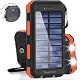 Solar Charger Solar Power Bank 20000mAh Waterproof Portable External Backup Outdoor Cell Phone Battery Charger with Dual LED Flashlights Solar Panel for iPhone Android Cellphones