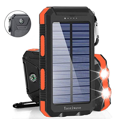 Solar Charger Solar Power Bank 20000m Ah Waterproof Portable External Backup Outdoor Cell Phone Battery Charger With Dual Led Flashlights Solar Panel For I Phone Android Cellphones (Black & Orange) by Taoxiwave