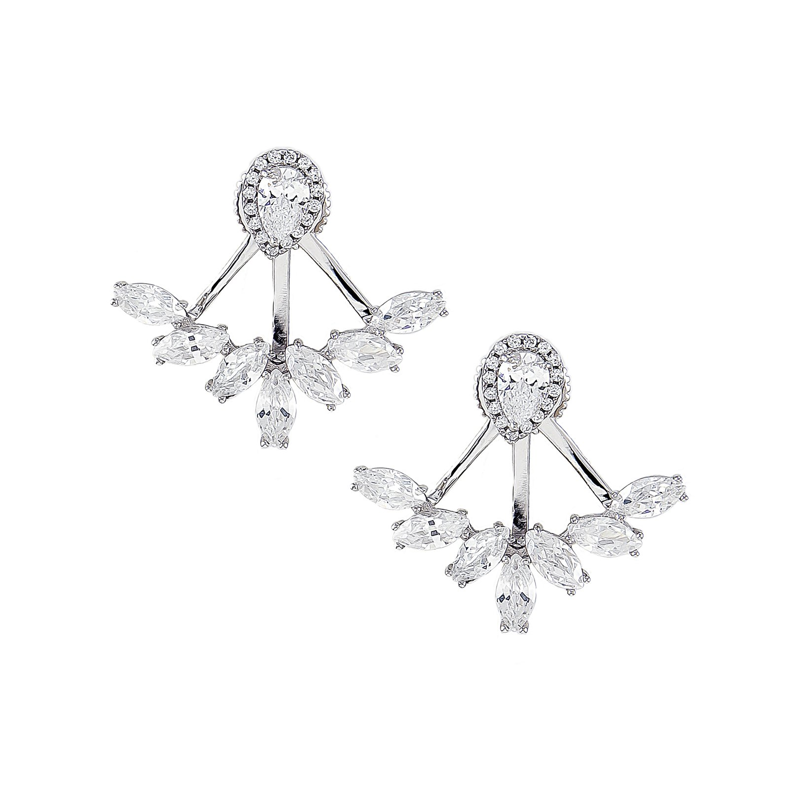 Platinum Plated 925 Sterling Silver Pear Cubic Zirconia Tear Drop Halo Oval Earring Jackets