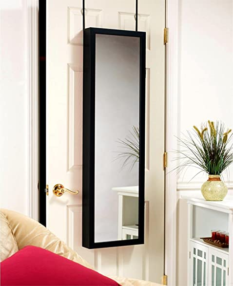 Mirror Jewelry Hanger Door Wall Mount Black With Mirror Inside And Outside  Accessories Organizer Lock Keys