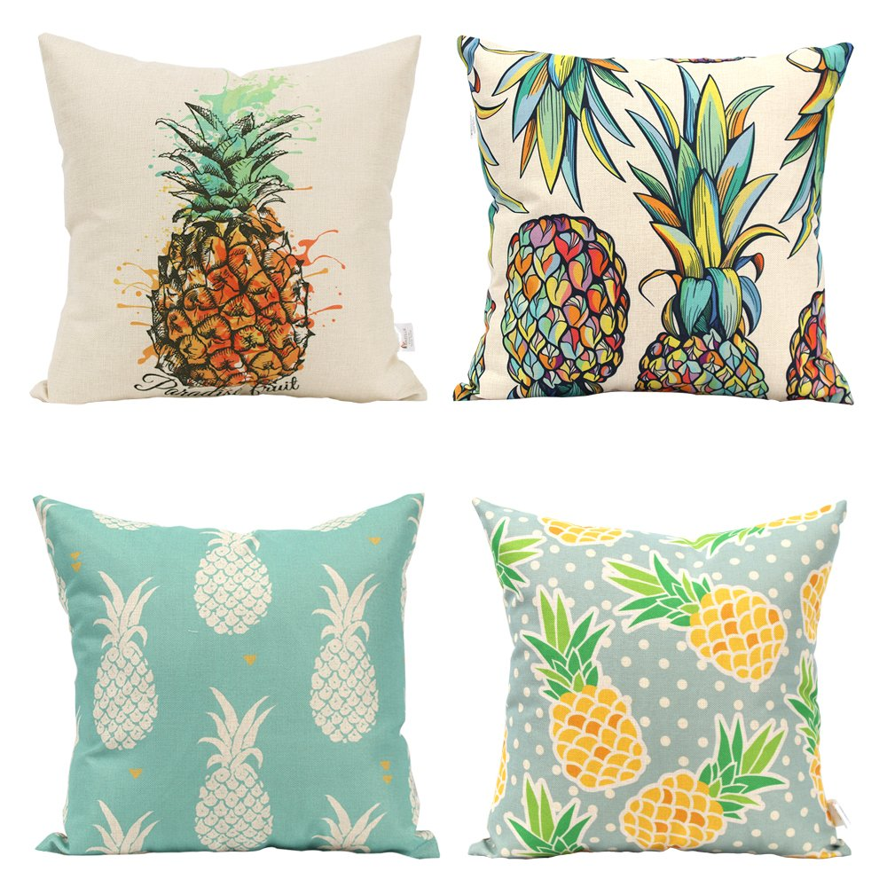 Miracille Durable Colorful Pineapple Design Pillow Case Cushion Cover For Sofa Chair (Set of 4pcs) (Pineapple Pattern)