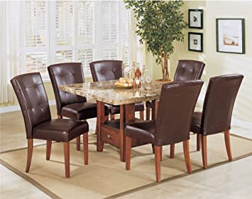 7 Pc Bologna Square Faux Brown Marble Dining Table Set With Storage Pedestal Base And Leather Like Vinyl Upholstered Chairs With Button Tufted Backs Table Chair Sets