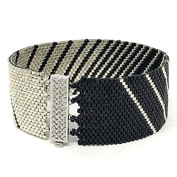 DIY Beading Kit – negro y plata pulsera de perlas, Peyote pulsera, abalorios (