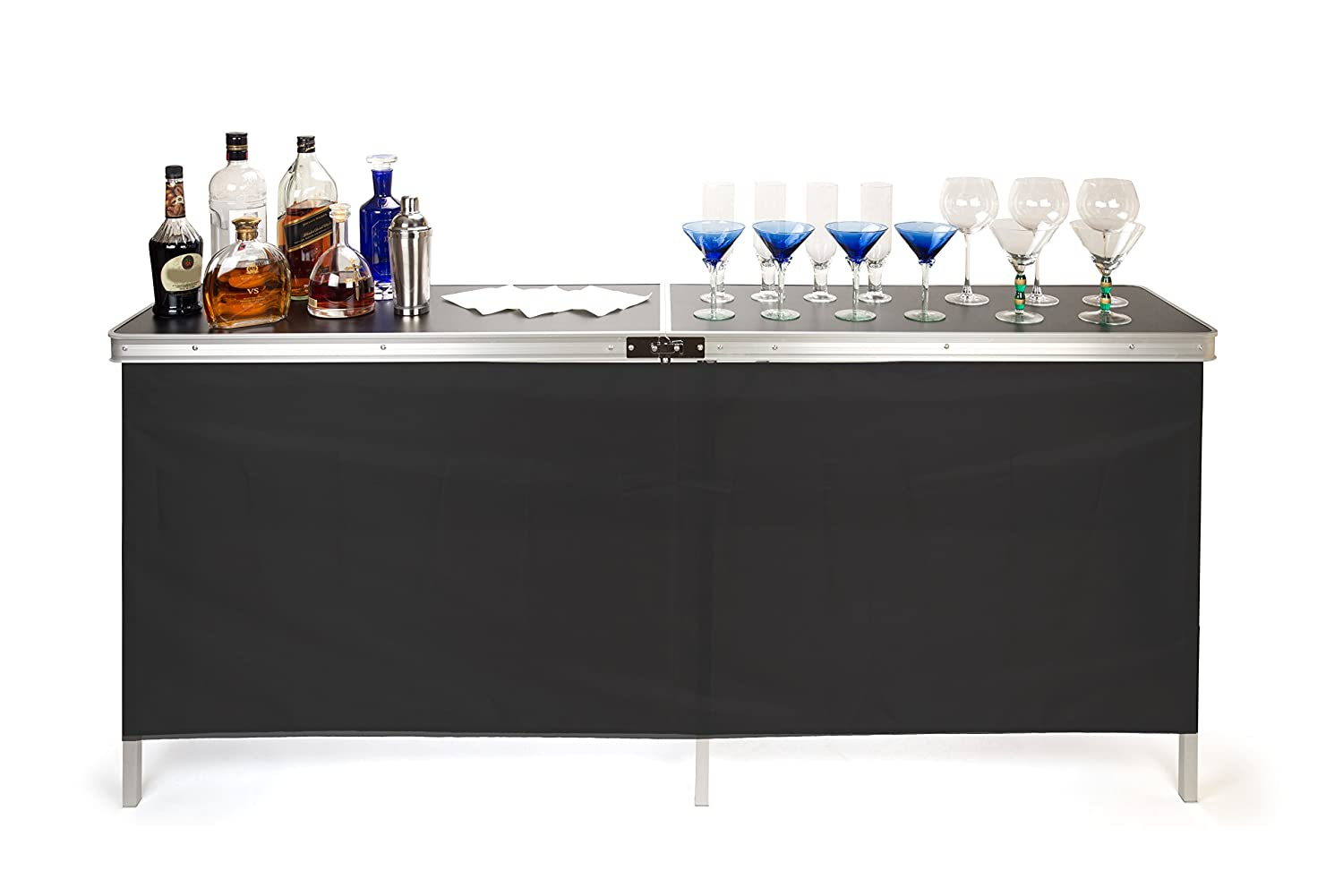 Trademark Innovations Portable Bar Table, Black PORTBAR-DBLE
