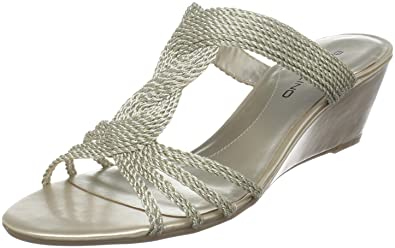 1717ded6ff Amazon.com | Bandolino Women's Adeline Wedge Sandal, Light Gold ...