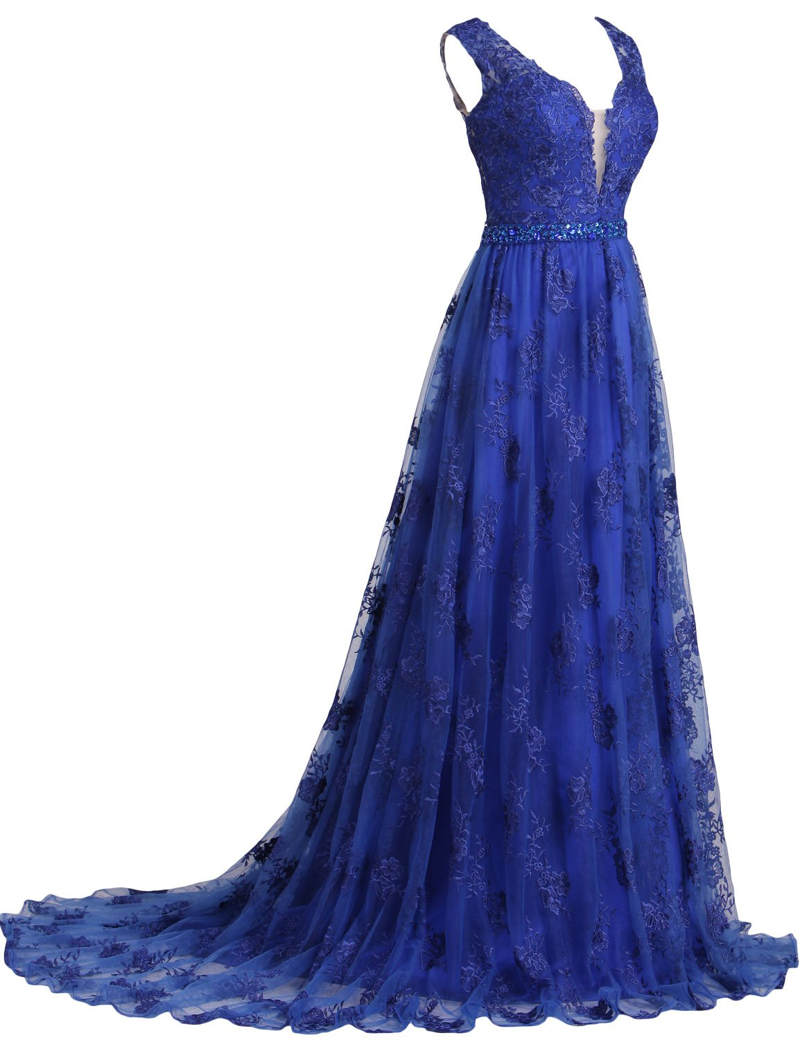 SeasonMall Womens Prom Dresses 2016 Lace V-Neck A Line Sleeveless Sweep Train With Beading Dress Size 0 Dark Royal Blue by SeasonMall (Image #4)