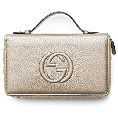 6dd7e4182e09 Amazon.com  Gucci Soho Golden Beige Wallet Double Zip Clutch Travel Leather  Bag Flat Italy New  Shoes