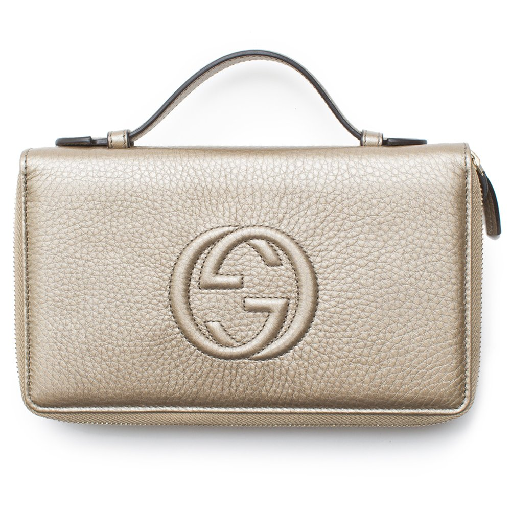 Gucci Soho Golden Beige Wallet Double Zip Clutch Travel Leather Bag Flat Italy New