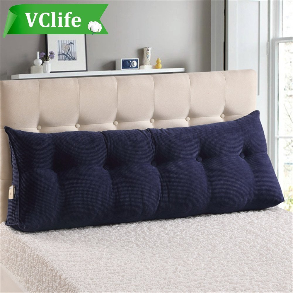VClife Reading Pillow for Adults Kids Cotton Large Filled Triangular Wedge Cushion Sofa Bed Backrest Positioning Support Pillow with Removable Cover, 71''(L) x 8''(W) x 19.6''(H), Jewelry Blue