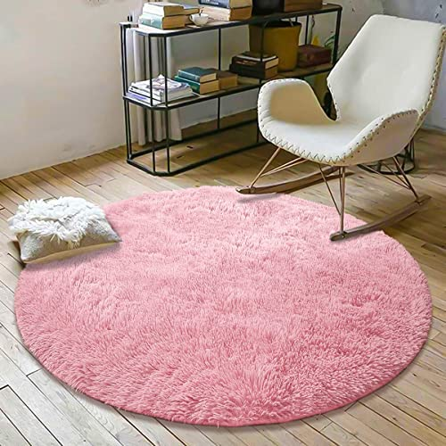 YOH Super Soft Round 4x4 Feet Area Rugs for Bedroom Kids Rooms Living Room Playroom Fluffy Boys Girls Baby Kids Children Rugs for Bedroom Home Nursery...