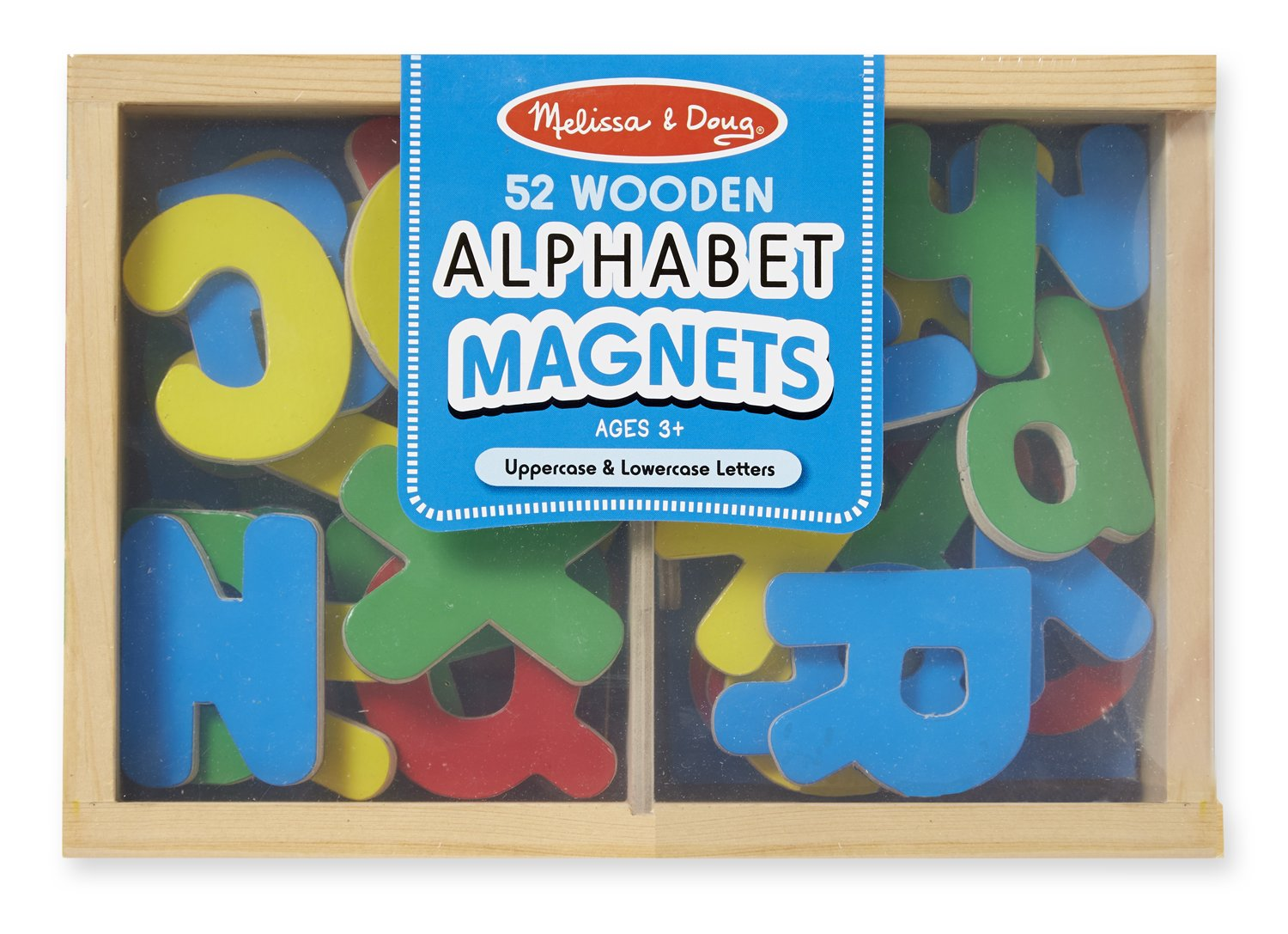 Melissa & Doug 52 Wooden Alphabet Magnets in a Box - Uppercase and Lowercase Letters 448 Puzzles