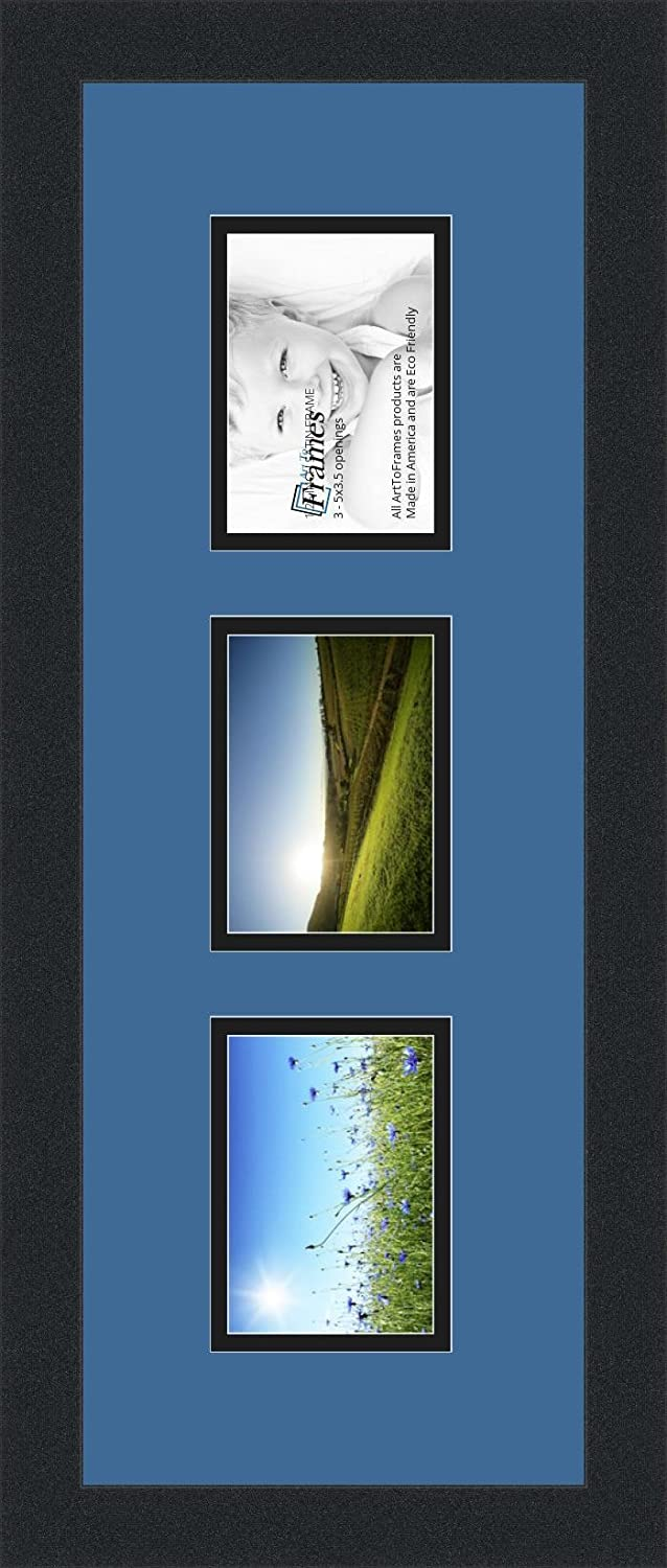 Art to Frames Double-Multimat-879-817//89-FRBW26079 Collage Photo Frame Double Mat with 3-3.5x5 Openings and Satin Black Frame