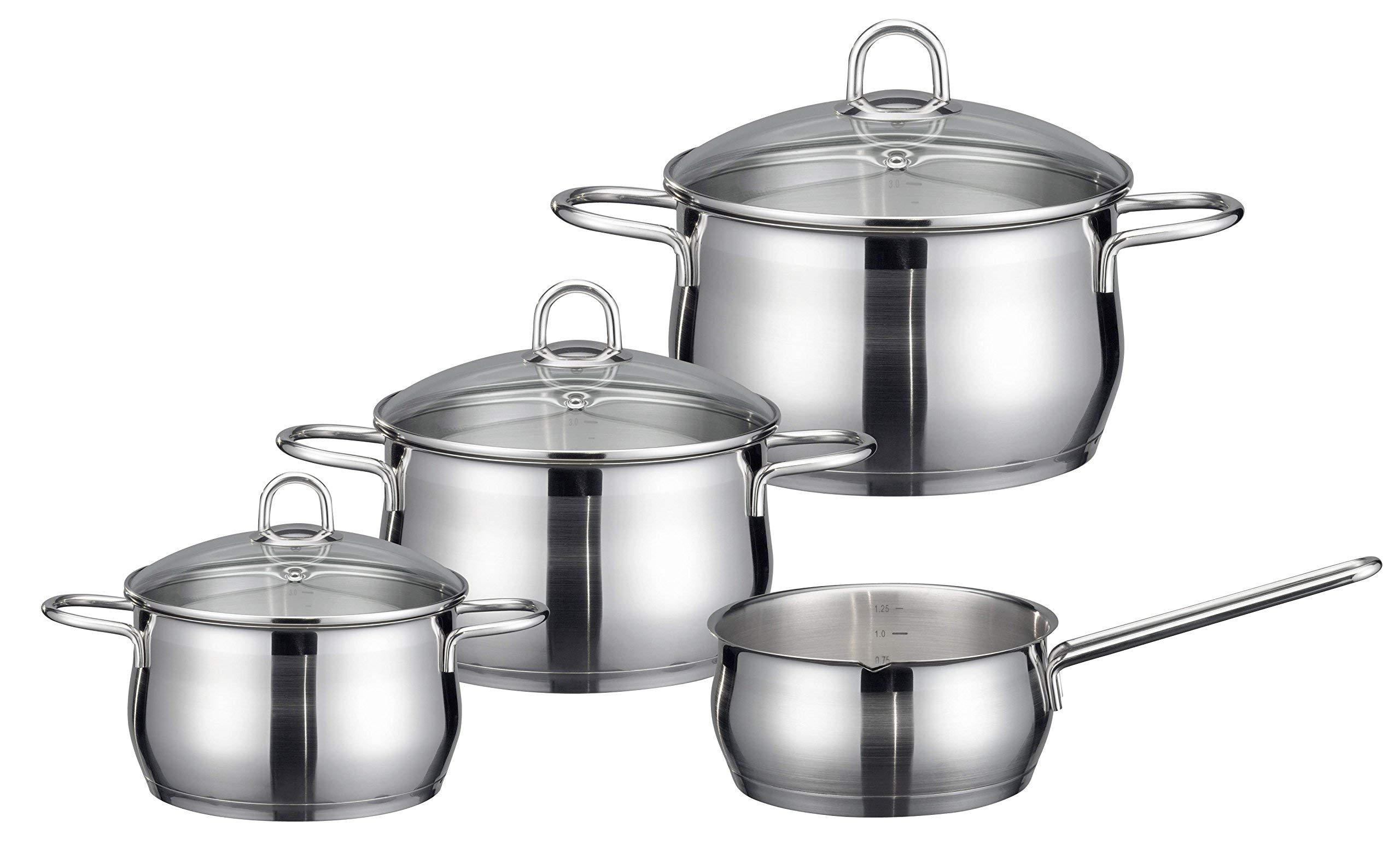 ELO Cookware 90604 Platin Stainless Steel Kitchen Induction Cookware Pots and Pans Set with Shock Resistant Glass Lids, 7-Piece (Renewed)