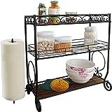 VANRA 3 Tier Spice Rack Kitchen Spice Stand Holder Jars Storage Organizer Shelf Rack with Tissue Dispenser Rack / Bathroom Paper Towel Holder & Towel Bar (Black)