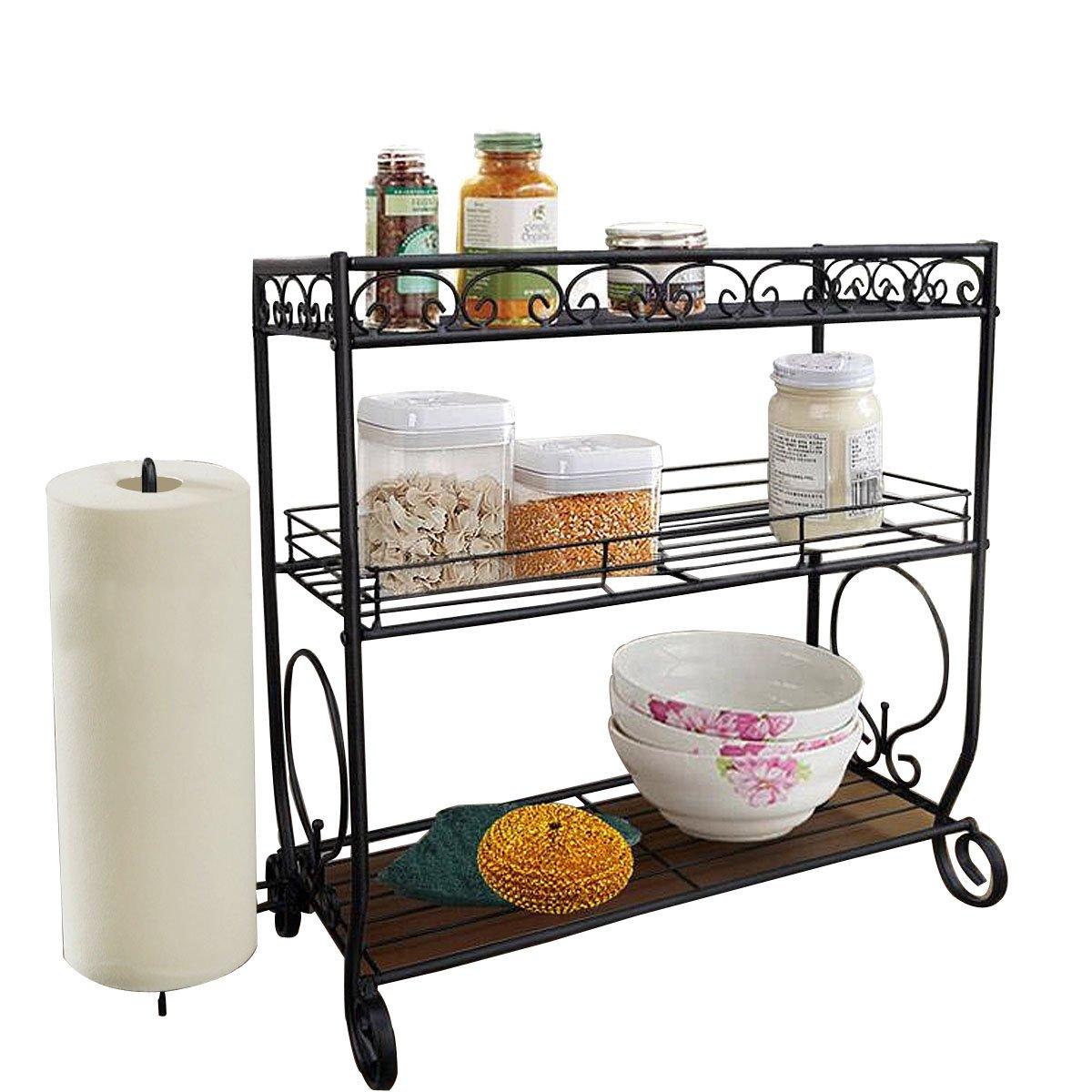 VANRA 3 Tier Spice Rack Kitchen Spice Stand Holder Jars Storage Organizer Shelf Rack with Tissue Dispenser Rack/Bathroom Paper Towel Holder & Towel Bar (Black) by VANRA