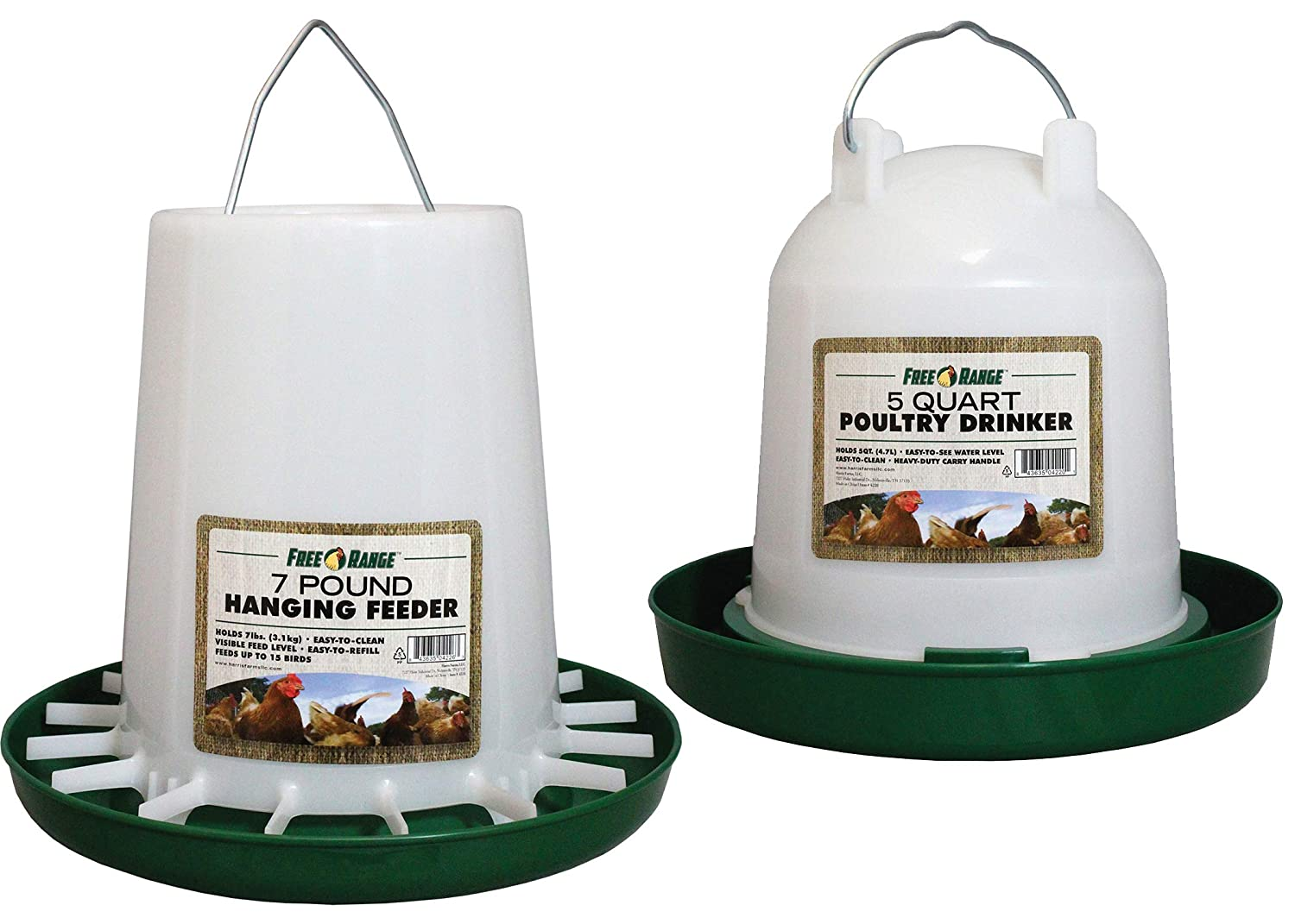 Manna Pro Chicken Waterer Feeder Combo with 7lb Hanging Food Dispenser 5 QT Waterer