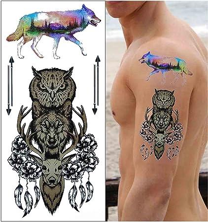 COKOHAPPY 5 Hoja Temporales Tatuaje - Destello Tatuaje Cuerpo ...