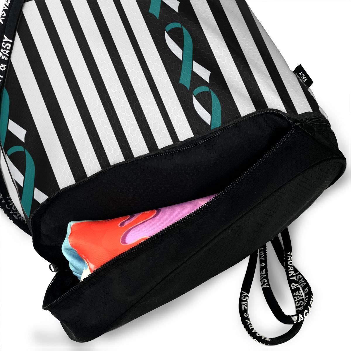 Ribbon Flag Cervical Cancer Awareness Drawstring Bag Multifunctional String Backpack Custom Cinch Backpack Rucksack Gym Bag